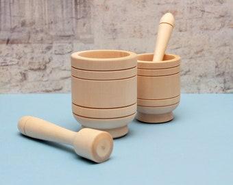 Wooden Mortar and Pestle Crush Box