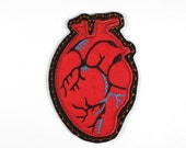 applique iron-on patches iron-on applique badge patch heart anatomically old 11,5 x 8cm / size inches 4.53 x 3.15