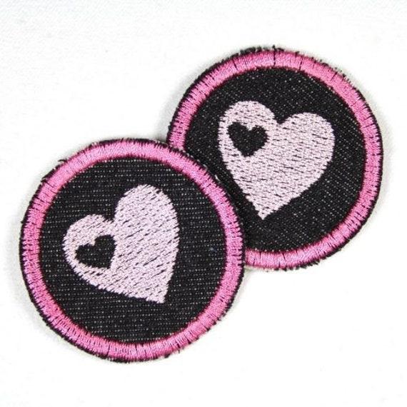 Applikation 2 Aufnäher rosa Reh pink Patch Knieflicken Flicken Hosenflicken