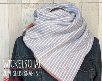 Nähpaket Wickelschal - altrosa & grau weiß gestreift