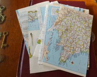 Set of 10 UPCYCLED ENVELOPES VINTAGE atlas pages, repurposed, map sheets, stationery, vintage maps, map envelopes