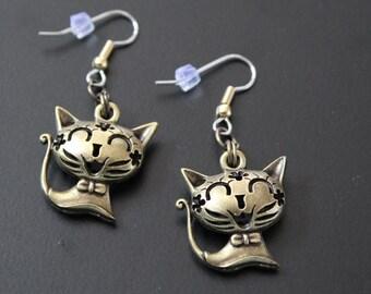 """Dangle earrings. """"CUTE CAT"""" cat"""