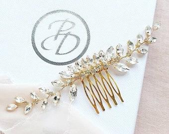 Glamour rhinestone wedding hair comb, Gold hair comb, gold comb, wedding comb for brides, bridal comb, bridal hair comb