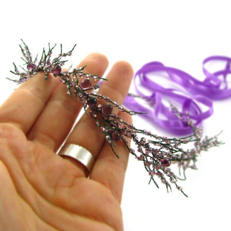 bridal hair vine tiara floral flower wreath Purple and green heather wedding wreath wedding hair piece Wedding hair accessories for bride