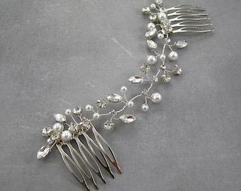 Wedding hair accessories, Wedding pearl comb, bridal headpiece, hair vine, Bridal hair accessories. Pearl headpiece. Wedding hair comb