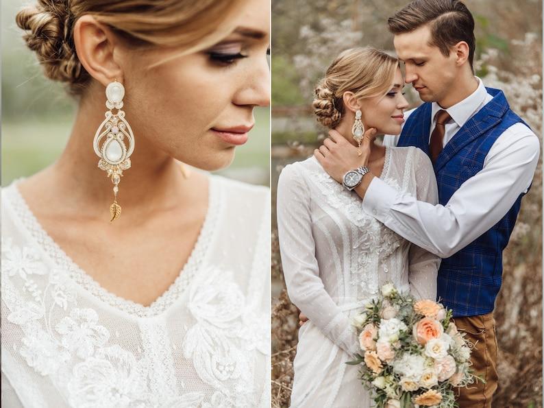 Boho wedding earrings for bride bridal earrings chandelier image 6