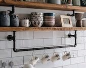 Steel pipe shelf brackets with hanging rail