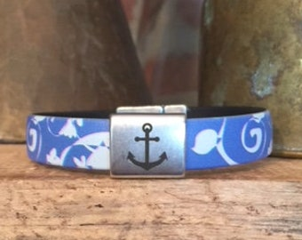 Bracelet - Blue Flowery Print with Anchor Emblem - Magnetic Clasp