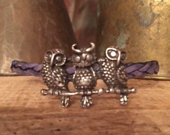 Petite Leather Owl Triplets!  Magnetic!