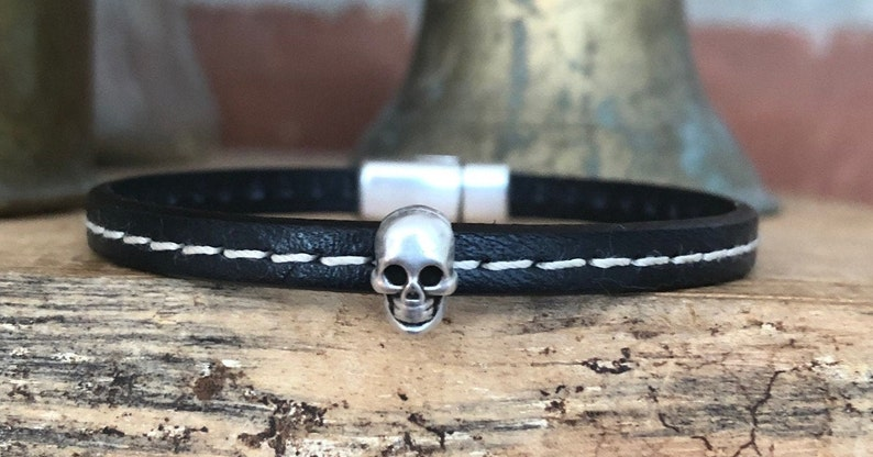Petite Black Stitched Leather Bracelet with Tiny Skull Magnetic Clasp