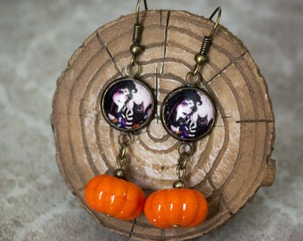 Pumpkin Witch Fairy Gothic Earrings - Halloween Bronze Jewellery - Autumnal Gifts - Wiccan Present - Drop Earrings
