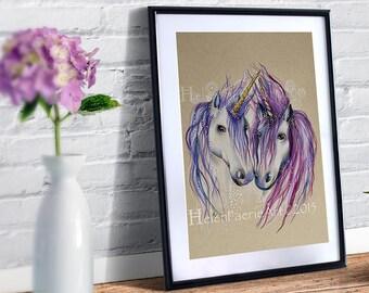 Unicorn Art Print, Pink Unicorn, Fantasy art, Ready To Frame, Unicorn gifts, Unicorn Wall art, Home Decor, Unicorn Art Print, Art Print