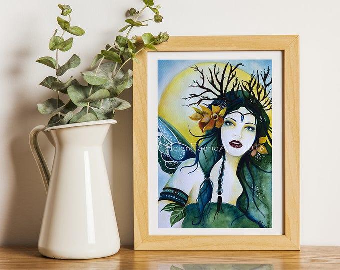 Featured listing image: Spring Art Print, Ready to Frame, Birthday Gift, Art Print, Fantasy Art Print, Daffodil Wall Art, Wall Art Print, Gift for her, Home Decor