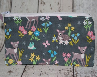 Bambi Purse, Animal Pencil Case, Animal fabric, Zipper Pencil Case, Animal Gifts, Deer Fabric, Children Gift, Bambi Gifts, Gift for Kids