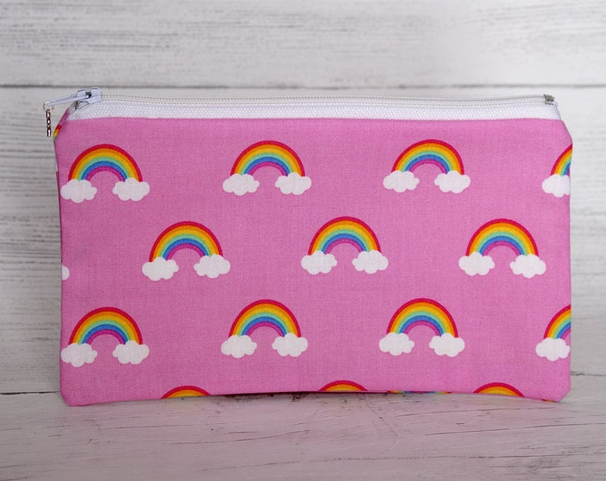 Featured listing image: Pink Rainbow Pencil Case, Pride Pen Case, Zipper Pouch, Cotton Small Make up Bag, Rainbow Gifts, Gay Pride Gifts