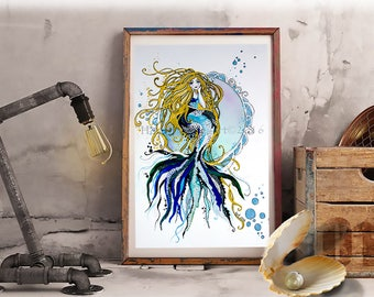 Mermaid Art, Mermaid Wall art, Mermaid Art Print, Ready to Frame, Ocean Print, Beach Print, Ocean Decor, Mermaid Gift, Little Mermaid, Gift