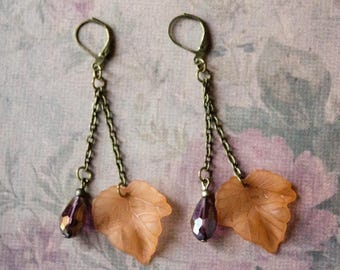 Bronze Woodland Leaf Earrings - Forest Nature Beaded Jewellery - Leaves and Trees - Mother Nature
