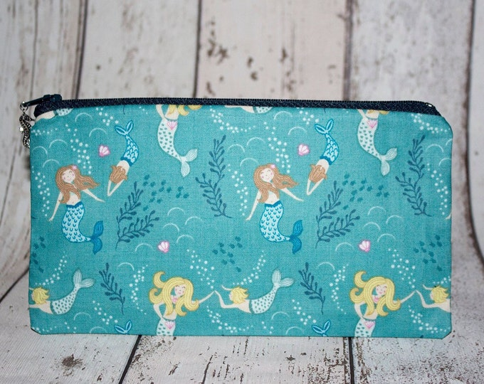 Featured listing image: Mermaid Pencil case, Mermaid Fabric, Seahorse Charms, Mermaid Gifts, Lined Pencil Case, Zipper Pencil case, Make up Bag, Blue Mermaid Gifts