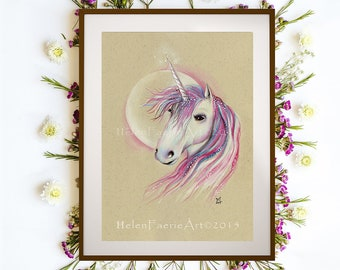Pink Unicorn Art Print, Ready to Frame, Wall Art Decor, Gift for Nurseries, Magical Creatures, Fantasy Artwork