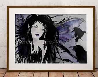 Gothic Crow Fairy Fine Art Print - Black Crow Bird - Purple Greeting Card - Fantasy Creatures - Faery Illustration - Ready To Frame