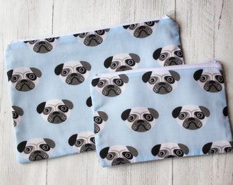Pug Dog Pencil Case - Dog Lover Gift - Zipper Pouch - Handmade Cotton Purse - Stationary Addict - Small Dog Breed