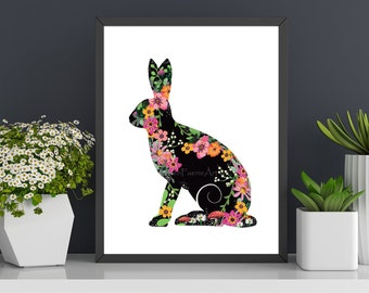 Floral Hare Silhouette Art Print - Wildlife Wall Decor - Flower Illustration - Ready to Frame - Woodland Creatures - Digital Drawing Poster