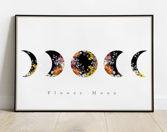 Moon Phases Fine Art Print - Floral Flower Design - Triple Moon Goddess - Lunar Celestial Home Decor - Moon Witch Symbol - Nursery Poster