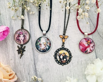 Flower Fairy Pendant Necklace - Floral Fauna Jewellery - Silver Bronze Accessories - Fantasy Art Birthday Gifts - Illustrated Fae Jewellery