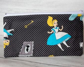 Alice In Wonderland Pencil Case - Lewis Carroll - Zipper Pouch - Handmade Cotton Purse - Stationary Addict
