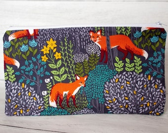 Red Foxes Woodland Pencil Case - Wildlife Zipper Pouch - Handmade Cotton Purse - Nature Lover Gifts