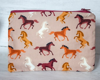 Horse Lover Pencil Case - Equestrian Gifts - Horse Addict - Pony Fabric - Zipper Pouch - Handmade Cotton Purse - Stationary Addict