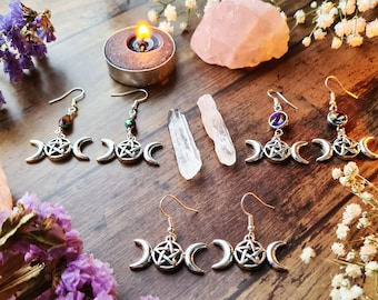 Triple Moon Goddess Silver Earrings - Pentagram Lunar Moon - Pagan Wiccan Faery Jewellery - Crescent Waxing Waning Luna - Moon Child Gifts