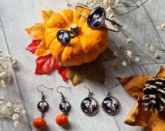 Gothic Fairy Witch Earrings - Dark Fantasy Faery Art - Bronze Cuff Bracelet - Goth Pagan Accessories - Black Kitty Cat - Birthday Gifts