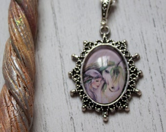 Unicorn Fairy Silver Necklace - Jewellery Gift - Cabochon Glass Pendant - Handmade Art