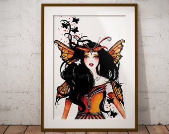 Butterfly Fairy Art Print - Nursery Faery Print - Watercolour Ready to Frame - Home Living Decor - Mythical Creatures - Wall Fantasy Poster