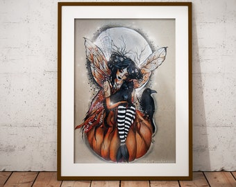 Hallows Eve Fairy Wall Print - Samhain Season - Pagan Witch - Gothic Poster Decor - Black Cat Lover - Spirit Crows - Illustrated Art Work