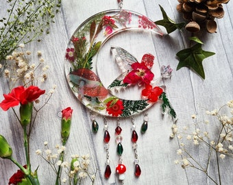 Resin Red Mushroom Fairy Sun Catcher - Fly Agaric - Real Dried Flowers - Crescent Moon - Wall Hangings - Nursery Ornament - Window Decor