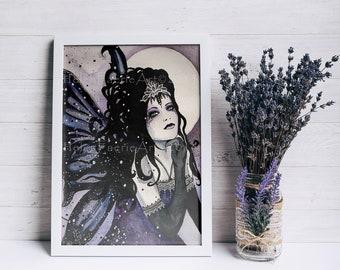 Gothic Fairy Art Print, Ready to Frame, Purple Goth Wall Art, Gothic Home Decor, Dark Fantasy Art, Alternative Gifts