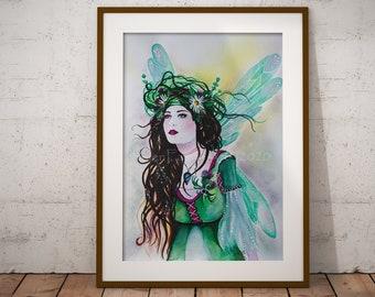 Scottish Thistle Fairy Art Print - Daisy Flower - Ready to Frame - Fantasy Wall Poster - Nursery Print - Green Goddess Pagan - Nursery Decor
