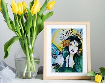 Spring Flower Fairy Art Print - Fantasy Poster Print - Yellow Daffodils - Blank Greeting Card - Nursery Wall Print - Equinox Pagan Faery