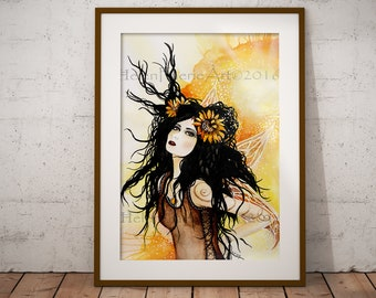 Summer Solstice Fairy Art - Watercolour Print - Feminine Wall Art - Ready To Frame - Home Decor - Pagan Faery Poster - Fae Greeting Card