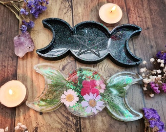 Triple Moon Floral Goddess - Resin Ring Trinket Dish -  Pagan Altar Decoration - Lunar Moon Phases -  Pentagram Star - Witch Jewellery Tray
