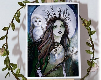 Woodland Fairy Art Print - Forest Lover - Ready to Frame - Greeting Cards - Living Room Poster - Barn Owl - Wall Art - Fantasy Decor Gifts