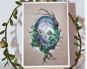 Enchanted Woodland Wall Art  - Landscape Fairy Print - Greeting Cards - Mushroom Poster - Nursery Decor - Illustrated Art - Ready To Frame