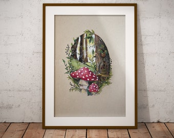 Fairy Red Mushroom Art Print - Fly Agaric Fungi - Faery Forest - Blank Greeting Card - Occasion Card - Magical Woodland - Illustrated Art
