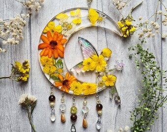 Resin Yellow Buttercup Fairy Sun Catcher - Real Dried Wildflowers - Daisy - Crescent Moon - Wall Hangings - Nursery Ornament - Window Decor