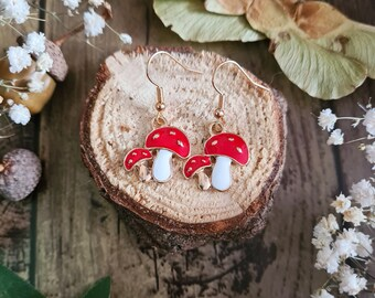 Red Agaric Mushroom Enamel Earrings - Woodland Jewellery - Gold Forest Charm - Nature Lover - Small Everyday Wear - Autumnal Gift