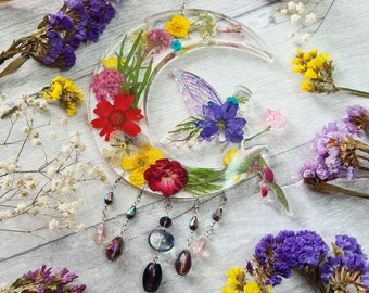 Resin Floral Fairy Sun Catcher - Boho Daisy - Real Garden Flower - Crescent Moon - Faery Wing - Window Wall Hanging - Nursery Ornament Gift