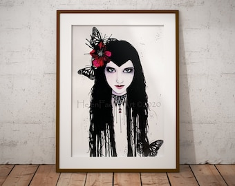 Gothic Fairy Art Print - Goth Greeting Card - Wall Poster Decor - Dark Fantasy Faery - All Occasion Card - Illustrated Card - Ready To Frame