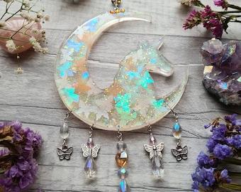 Resin Unicorn Sun Catcher - Iridescent Glitter - Hearts Butterfly  - Crescent Moon - Wall Hanging - Nursery Ornament - Bedroom Window Decor